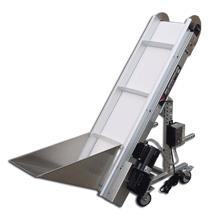 Small Frame Steel Incline Conveyor with Hopper